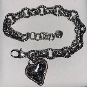 Brighton Bracelet, CZ Heart Pendant, Silver